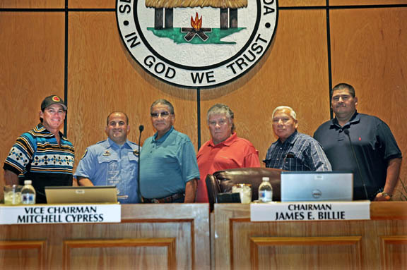From left, Hollywood Councilman Chris Osceola, Fire Rescue Lt. Evan Weiner, President Mitchell Cypress, Chairman James E. Billie, Brighton Councilman Andrew J. Bowers Jr. and Big Cypress Councilman Cicero Osceola pose for a photograph after Weiner was honored with a lifesaving award from Executive Director of Public Safety and Chief of Police William Latchford Sept. 11 prior to the Council meeting in Hollywood.