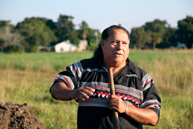 Willie Johns delivers a eulogy Oct. 15 at the Okeechobee gravesite where 21 Seminole skulls from the 1800s were repatriated. The Seminole Tribal Historic Preservation Office worked for a year to have the Seminole remains returned to the Tribe for burial in accordance with the Native American Graves Protection and Repatriation Act.