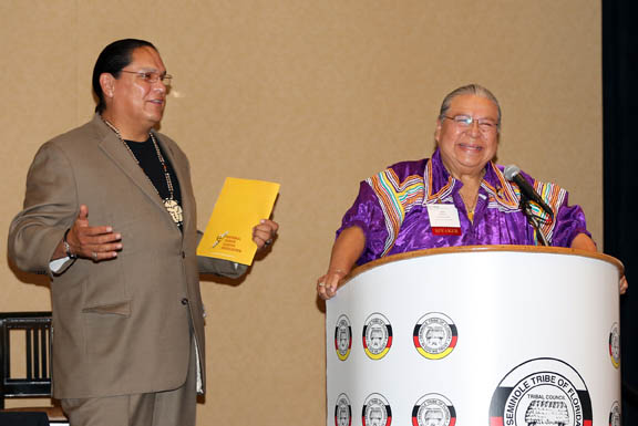 NIGA Chairman Ernest L. Stevens Jr., left, and Joel M. Frank Sr. address participants Nov. 3 during the NIGA mid-year conference at the Hard Rock Hotel & Casino Hollywood.