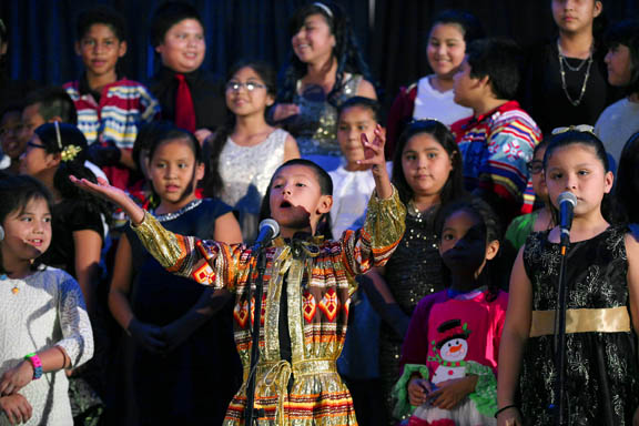 The grand finale of Ahfachkee School's Golden Christmas Concert features a student cast of more than 50 student voices with a special solo by Solomon Cypress in 'Do You Here What I Hear?'
