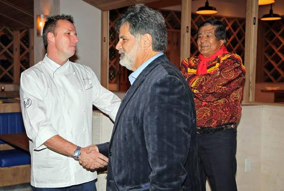 Grey Salt executive chef Marc Murphy greets Seminole Hard Rock Hotel & Casino Tampa President John Fontana during the November grand opening.