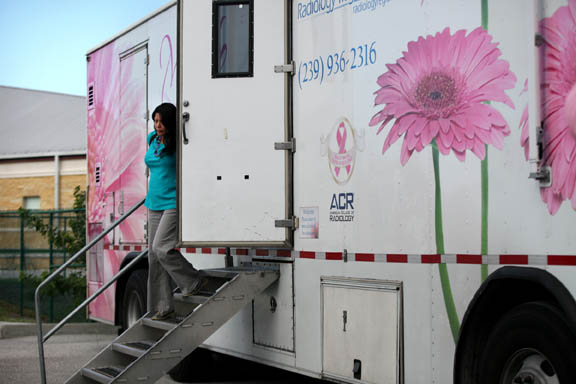 Carla Gopher leaves the Mobile Mammo mammography vehicle Dec. 8 at Brighton Reservation.