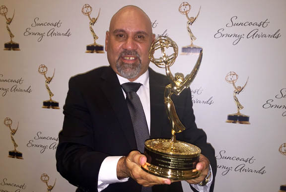 Reinaldo Becerra poses with the Emmy he won for 'Big Cypress National Preserve: Panthers' at the Suncoast Emmy Awards Dec. 5 in Fort Lauderdale.