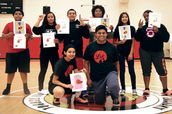 Hoops for Heart contest winners pose after the Pemayetv Emahakv Charter School fundraising event Feb. 5 in Brighton.