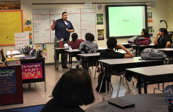 Big Cypress Councilman Cicero Osceola addresses students March 16 during Career Day at Ahfachkee School in Big Cypress.