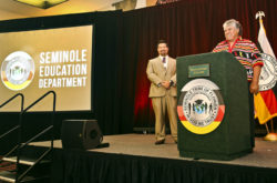 Chairman James E. Billie speaks about the importance of education and staying away from drugs during the Education Expo on Aug. 5.