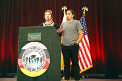 Pro basketball players and sisters Jude and Shoni Schimmel give speeches about their triumphs and tribulations at the Educational Expo on Aug. 5 to motivate young Tribal members to have goals and reach for their dreams.