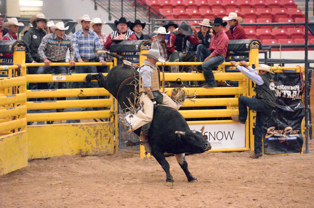 Kelton Smedley competes in bullriding at INFR in Las Vegas. (Smith Rodeo Photgraphy)