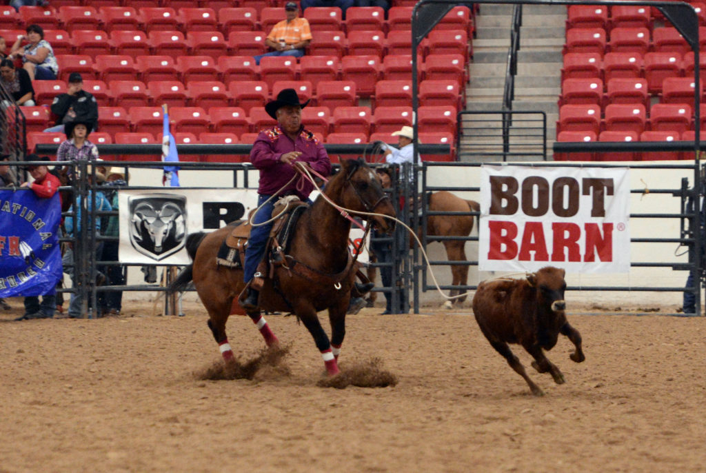 Norman Johns competes in senior breakaway at INFR. (Smith Rodeo Photography)