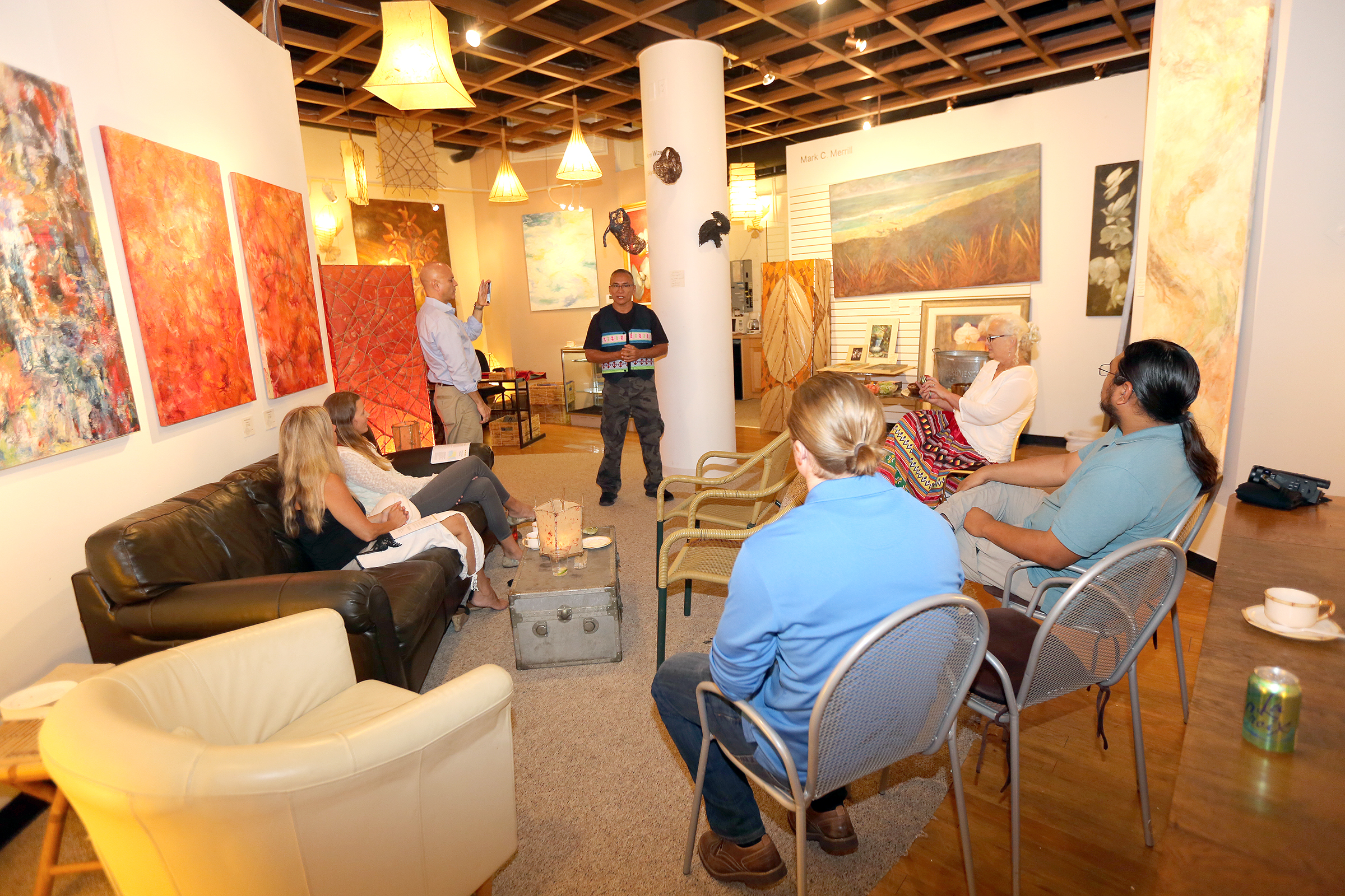 Sam Tommie, center, speaks about the importance of water Nov. 15 during a Native American Heritage Month program at the Upper Room Art Gallery in Fort Lauderdale. (Kevin Johnson photo)