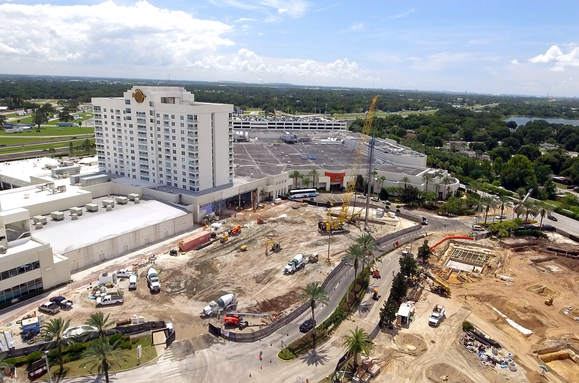 The view from a Seminole Media Productions drone shows the construction project underway at the Seminole Hard Rock Hotel & Casino Tampa. (Martin Ebenhack photo)