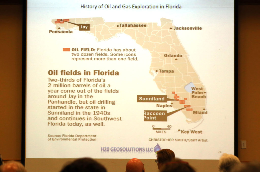 A slide showing the history of oil and gas exploration in Florida is displayed as part of an expert's presentation duringf the Florida Fracking Summit at Florida Gulf Coast University on Nov. 2. (Beverly Bidney photo)