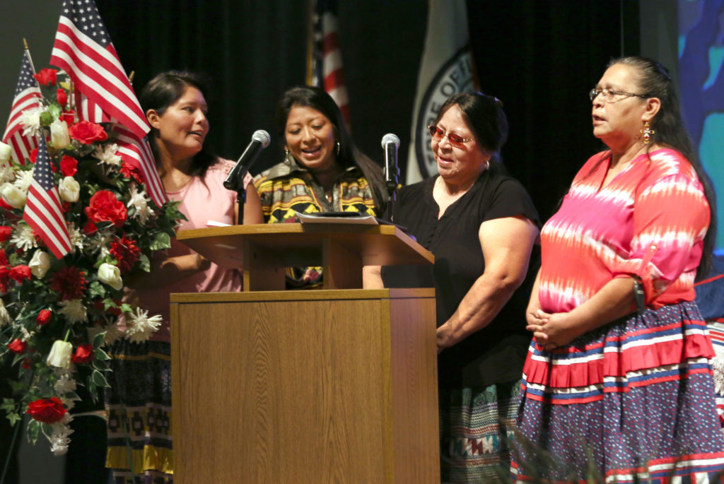 Members of All Family Ministries' Native Voices perform at the Brighton Veterans Day ceremony Nov. 3. The group consists of Carla Gopher, Nikki Osceola, Mary Jo Micco and Beulah Gopher.(Beverly Bidney photo)