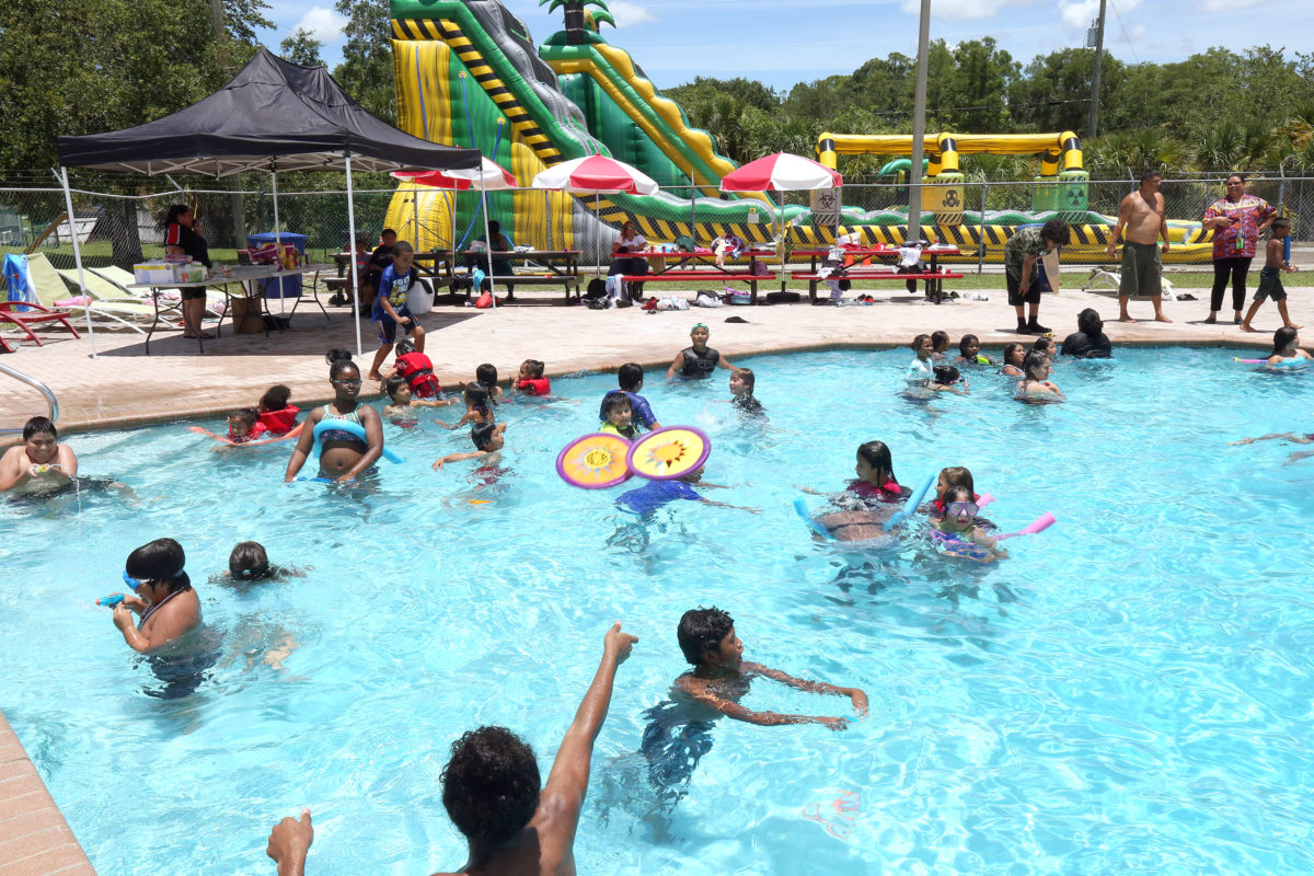 On a day that was hot and humid, it was hard to get the kids to leave the pool for the giant water slides. (Damon Scott photo)