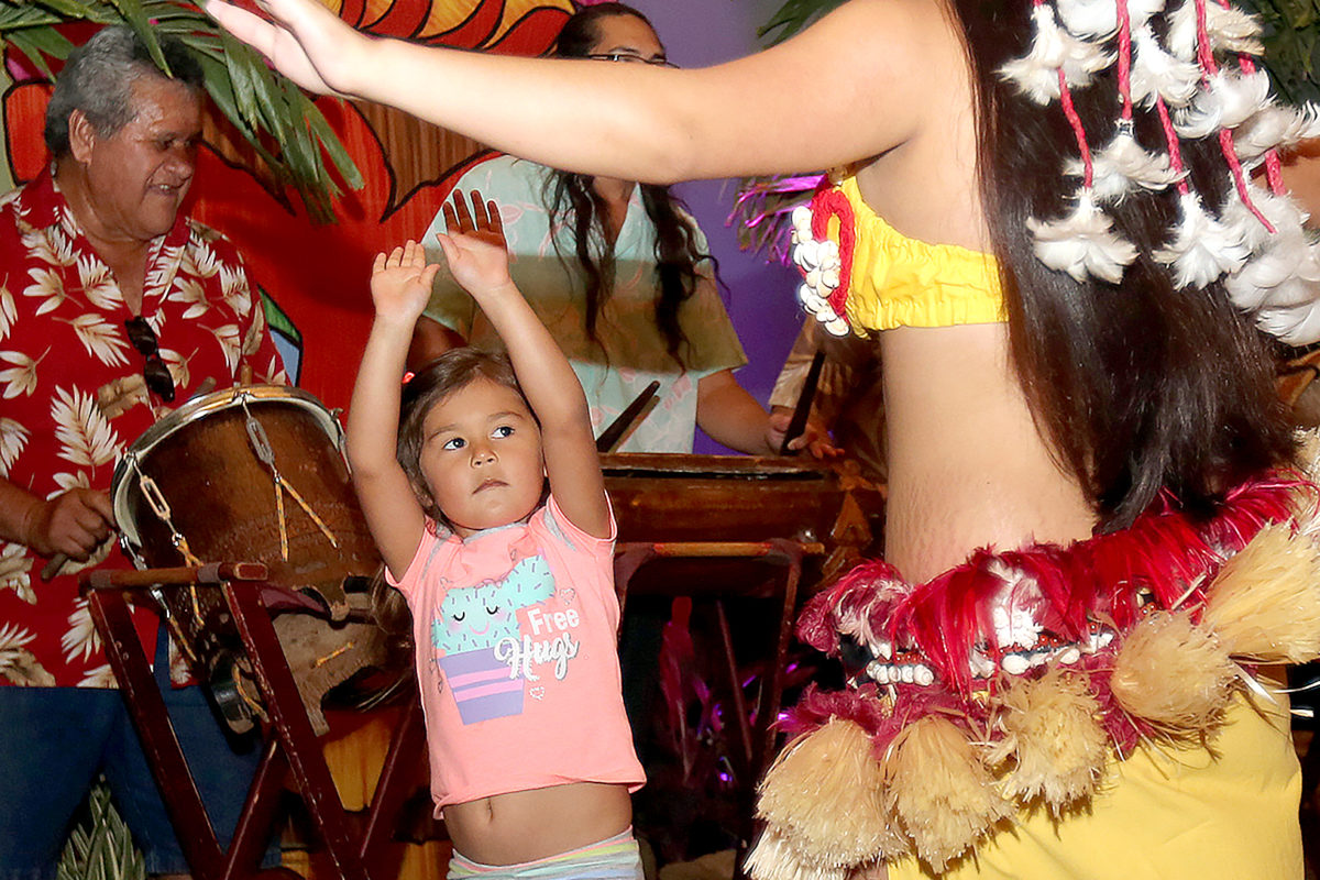 Kahniyah Hill-Billie was excited to try and mimic the traditional Polynesian dancing moves by the Mai-Kai entertainers. (Damon Scott photo)