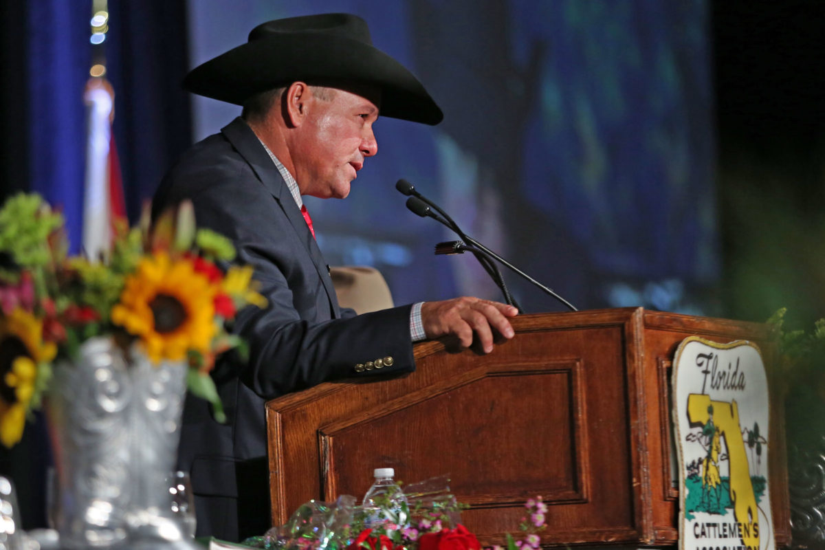 Alex Johns addresses the Florida Cattlemen's Association as president for the first time at its annual convention and banquet June 21 in Orlando. He is the first Native American to lead the nearly 5,000- member organization. (Beverly Bidney photo)
